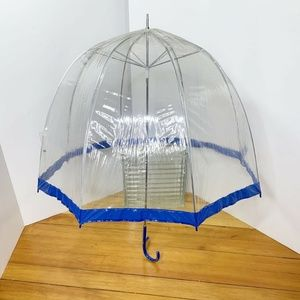 Vtg Taiwanese Clear W/ Blue Trim Rain Umbrella